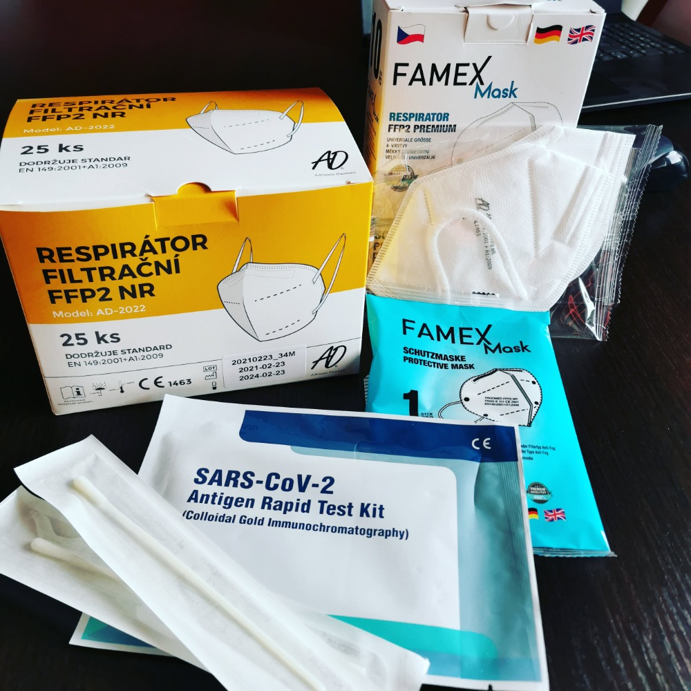 Covid testy a respirátory